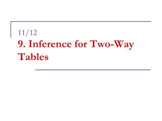 11/12 9. Inference for Two-Way Tables
