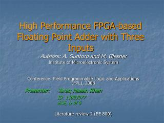High Performance FPGA-based Floating Point Adder with Three Inputs