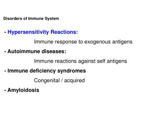 Disorders of Immune System