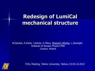 Redesign  of  LumiCal mechanical structure