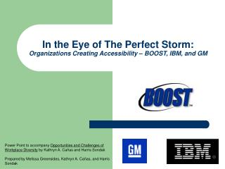 In the Eye of The Perfect Storm:  Organizations Creating Accessibility – BOOST, IBM, and GM