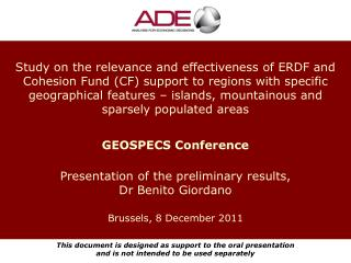 Presentation of the preliminary results, Dr Benito Giordano