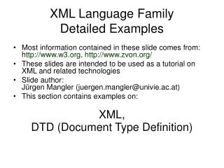 XML Language Family Detailed Examples