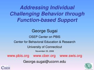 Addressing Individual Challenging Behavior through Function-based Support