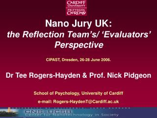 Nano Jury UK:  the Reflection Team's/ 'Evaluators' Perspective