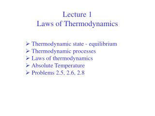 Lecture 1  Laws of Thermodynamics