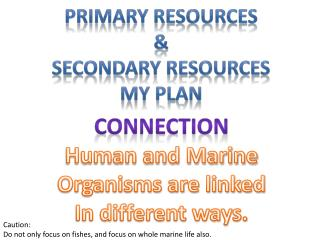 Primary Resources & Secondary Resources MY Plan