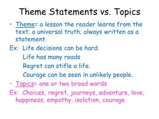 Theme Statements vs. Topics