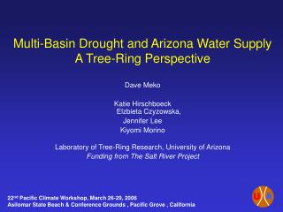 Multi-Basin Drought and Arizona Water Supply A Tree-Ring Perspective