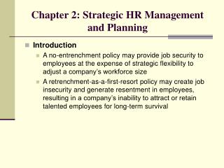 Chapter 2: Strategic HR Management and Planning