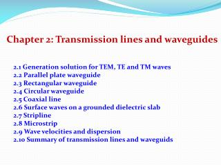 Chapter 2: Transmission lines and waveguides