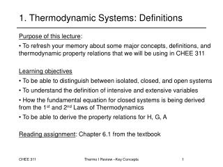 1. Thermodynamic Systems: Definitions