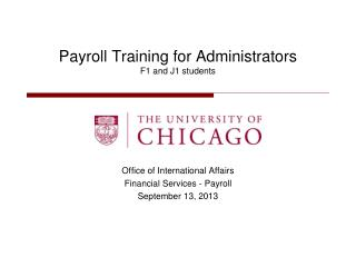 Payroll Training for Administrators  F1 and J1 students
