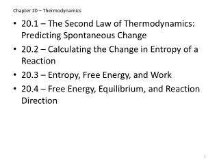 Chapter 20 – Thermodynamics
