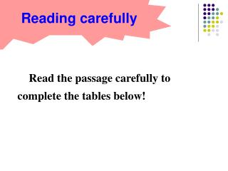 Read the passage carefully to complete the tables below!