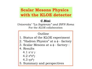 Scalar Mesons Physics  with the KLOE detector