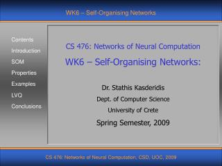 WK6 – Self-Organising Networks
