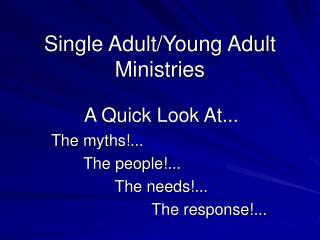Single Adult/Young Adult Ministries
