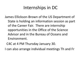 Internships in DC