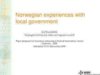 Norwegian experiences with local government
