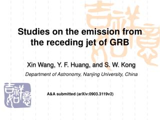 Studies on the emission from the receding jet of GRB