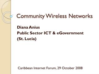 Community Wireless Networks