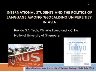 International Students and the Politics of Language among 'Globalising Universities' in Asia