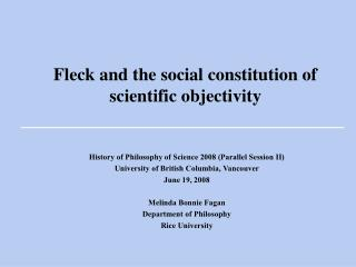 Fleck and the social constitution of scientific objectivity