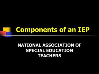 Components of an IEP