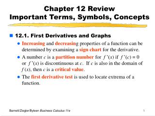 Chapter 12 Review  Important Terms, Symbols, Concepts