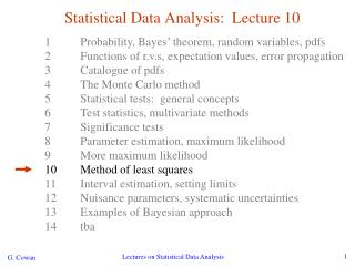 Statistical Data Analysis:  Lecture 10