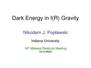 Dark Energy in f(R) Gravity
