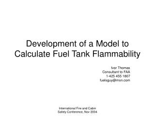 Development of a Model to Calculate Fuel Tank Flammability