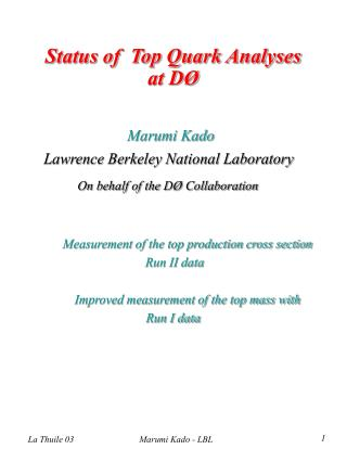 Status of  Top Quark Analyses at DØ
