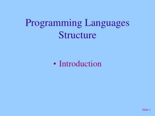 Programming Languages Structure