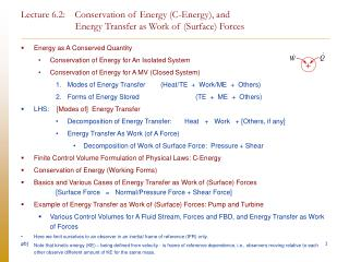 Energy as A Conserved Quantity Conservation of Energy for An Isolated System