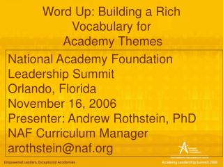 Word Up: Building a Rich  Vocabulary for  Academy Themes