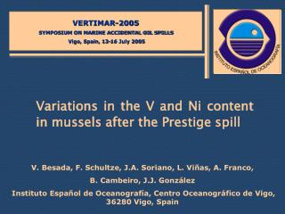 Variations in the V and Ni content in mussels after the Prestige spill