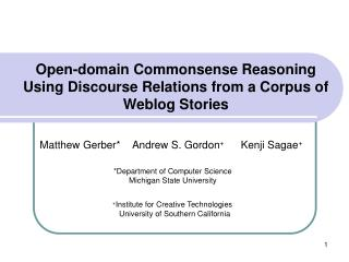 Open-domain Commonsense Reasoning Using Discourse Relations from a Corpus of Weblog Stories