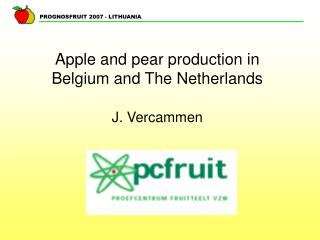 Apple and pear production in Belgium and The Netherlands