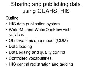 Sharing and publishing data using CUAHSI HIS