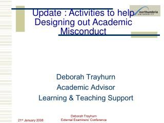 Update : Activities to help Designing out Academic Misconduct