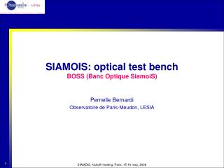 SIAMOIS: optical test bench BOSS (Banc Optique SiamoiS)