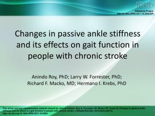 Changes in passive ankle stiffness and its effects on gait function in people with chronic stroke