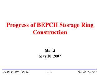 Progress of BEPCII Storage Ring Construction