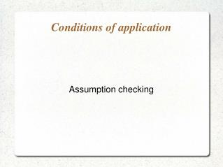 Conditions of application
