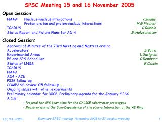 SPSC Meeting 15 and 16 November 2005