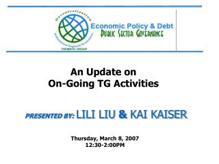 An Update on  On-Going TG Activities