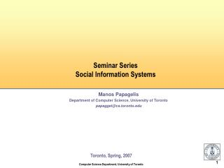 Seminar Series Social Information Systems