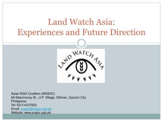 Land Watch Asia:  Experiences and Future Direction